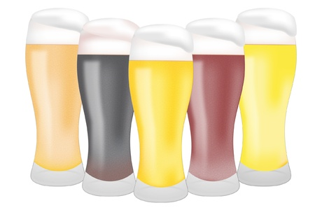 beers: 5color beers Illustration