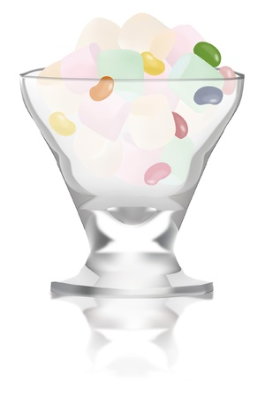 marshmallows: colorful marshmallows and jellybeans in a glass