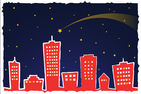 hometown: Postcard depicting a stylized city at night with stars and snow