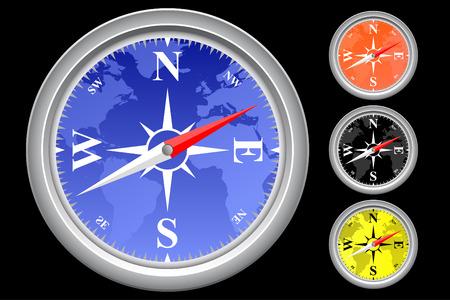 quadrant: Illustration of compass in four colors Illustration