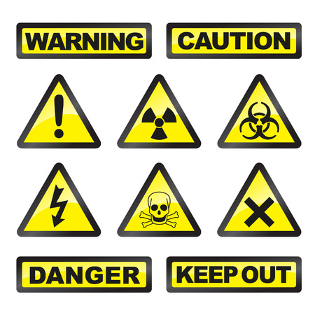 electricity danger of death: Danger signals gray and yellow on a white background  Illustration