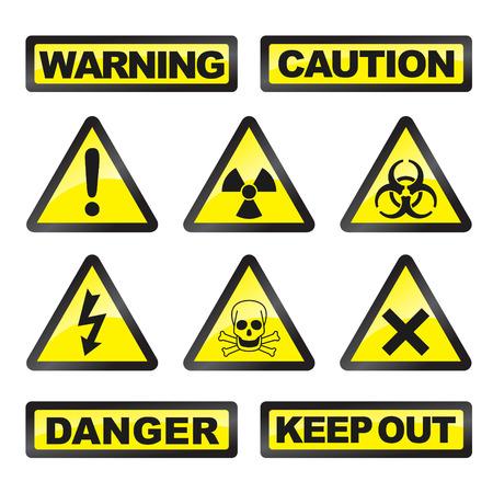 danger: Segnali di pericolo di colore grigio e giallo su sfondo bianco
