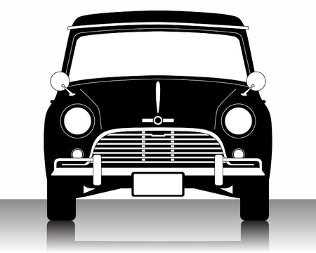 Vintage Car silhouette on a white background