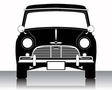 mini car: Vintage Car silhouette on a white background