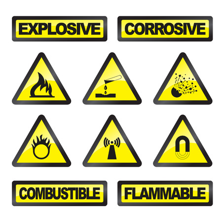 nuclear explosion: Danger signals gray and yellow on a white background  Illustration