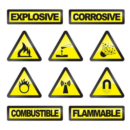 symbole chimique: Signaux de danger gris et jaune sur un fond blanc
