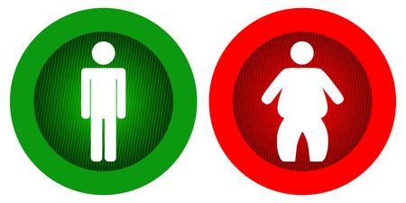 fat man: Ilustraci�n de magro y gordo Vectores