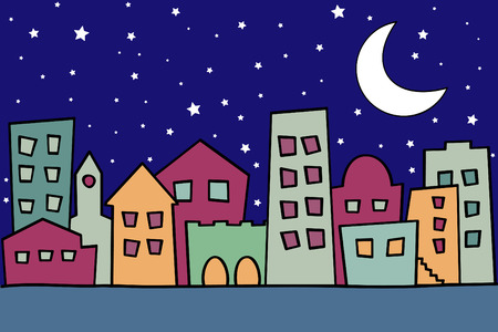 particularly: Vector illustration of night city Illustration