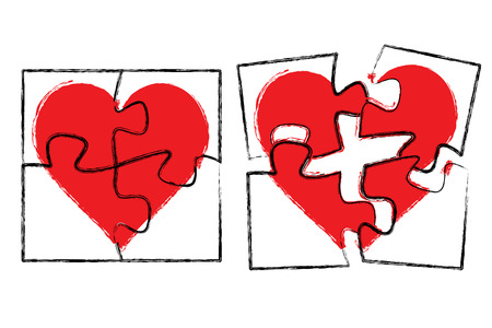 Vector illustration of heart in puzzle Vector