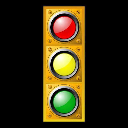 Yellow traffic light on black