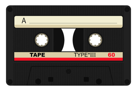 distortion: Vector illustration of compact cassette on a white background Illustration