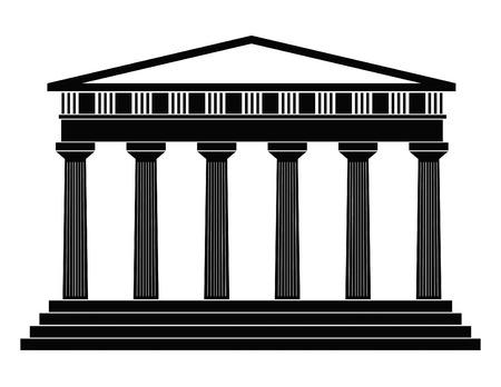 grec antique: D�taill� d�crivant grec ancien temple sur un fond blanc