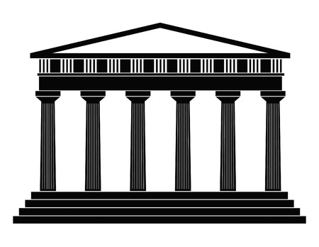 columns: Detailed outline depicting ancient greek temple on a white background Illustration