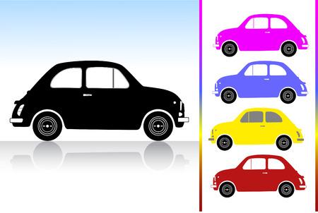 Vintage Car Silouette in five colors Vector