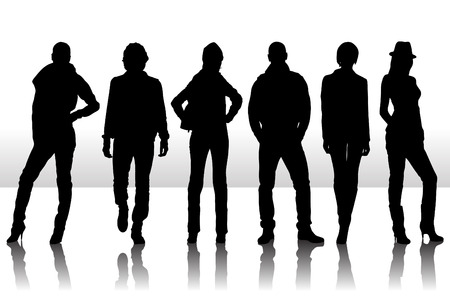 nude mann: Vektor-Illustration der Mode Menschen silhouette