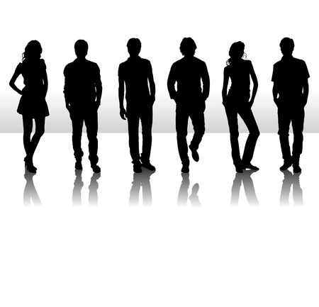 nude female: Vector illustration of fashion people silhouette Illustration