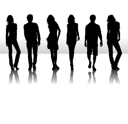 Vector illustration of fashion people silhouette Stock Vector - 4111747