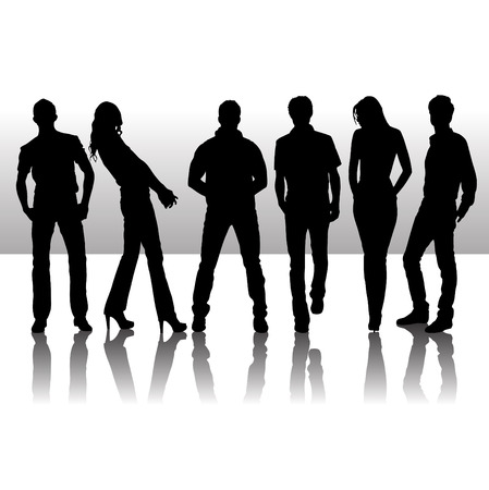 Vector illustration of fashion people silhouette Illustration