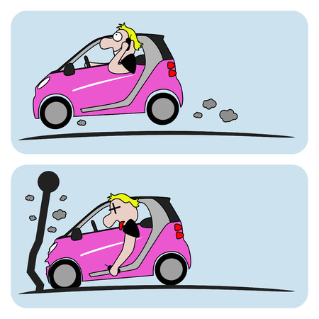 vector illustration of a man driving causing an accident while talking on the phone