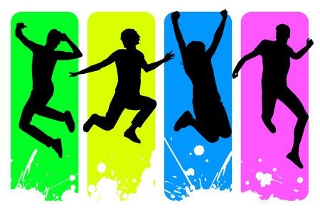 Vector illustration of happy young people jumping