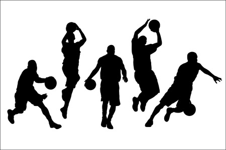 panier basketball: Vector illustration des joueurs de basket-ball