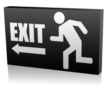 3d vector illustration of emergency exit Illustration