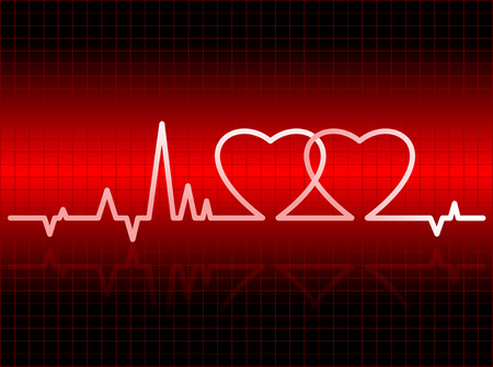 palpitations: vector illustration of electrocardiogram with two hearts united