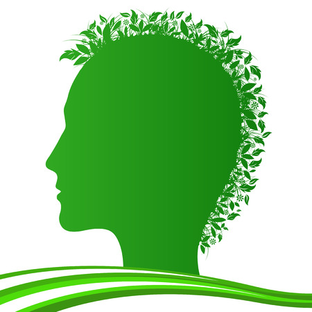 Vector illustration of stylized human with plants  Vector