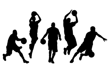 attacker: Vector illustration of basketball players