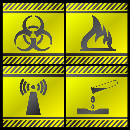 Danger signals gray and yellow on a white background Stock Vector - 4464287