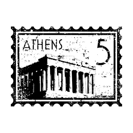 athens: Vector illustration of stamp or postmark style grunge