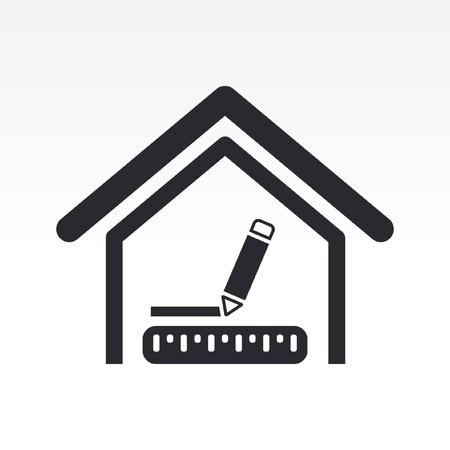 topografo: Ilustraci�n vectorial de las medidas de la casa