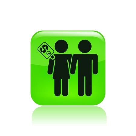 prostitute: Vector illustration of couple for cash Illustration