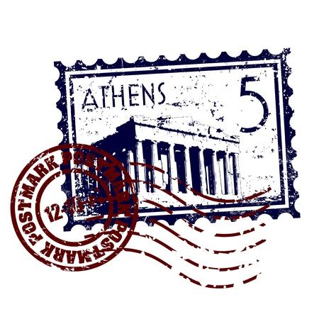 templo griego: Ilustraci�n del vector del timbre o sello postal estilo grunge