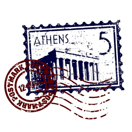 greece: Vector illustration of stamp or postmark style grunge