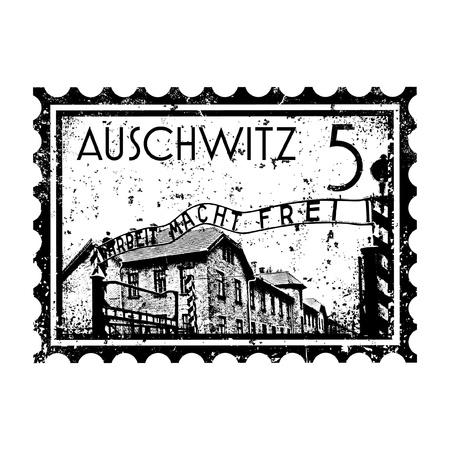 Vector illustration of Auschwitz stamp