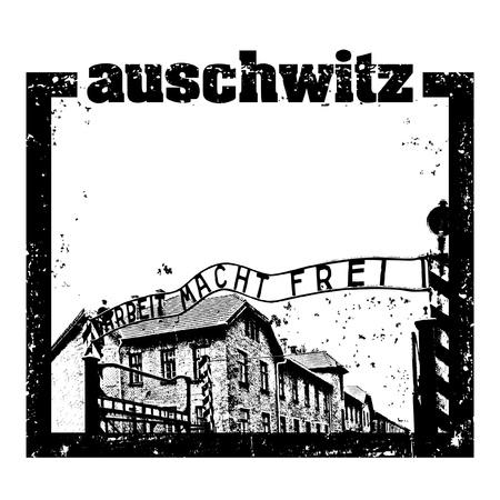 jews: Vector illustration of Auschwitz stamp