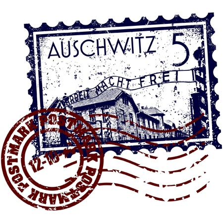 nazism: Vector illustration of Auschwitz stamp