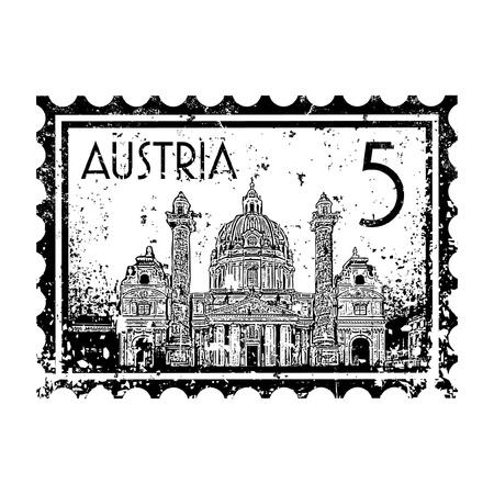 wiedeń: Ilustracji wektorowych z pieczÄ™ci lub stempla pocztowego Austrii
