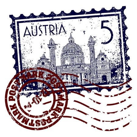 Vektor illustration av stämpel eller poststämpel Österrike Illustration