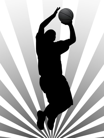 ball point: Vector illustration of basketball player