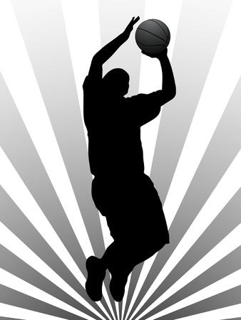 basket ball: Vector illustration of basketball player