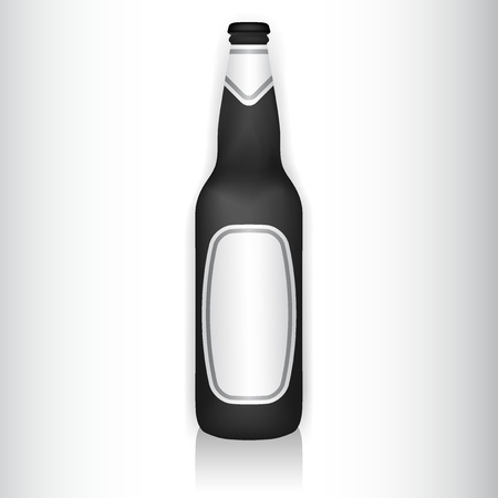 beer drinking: Vector illustration of a glass bottle with stickers Illustration
