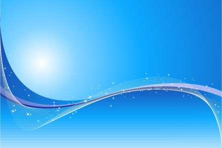 sky blue: Abstract blue background with stars and waves Illustration