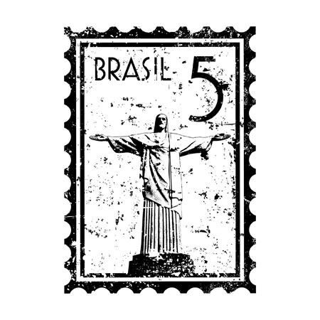 brasil: Vector illustration of Rio de Janeiro Stamp