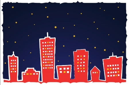 Vector illustration of stylized city at night Stock Vector - 10545444