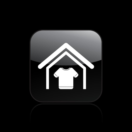Vector illustration of modern single icon depicting a house with the symbol clothing Stock Vector - 10545184