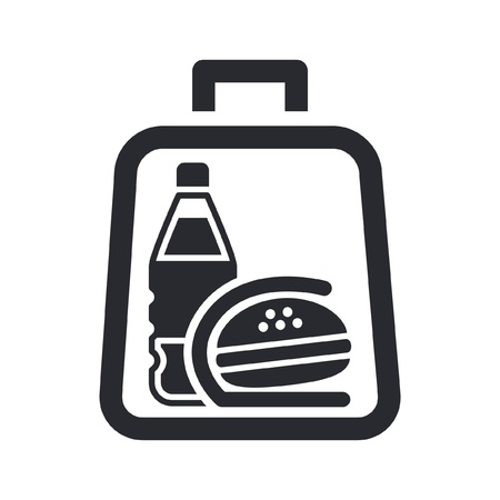 Vector illustration of single isolated icon depicting a sandwich and drink in a bag Stock Vector - 10545422
