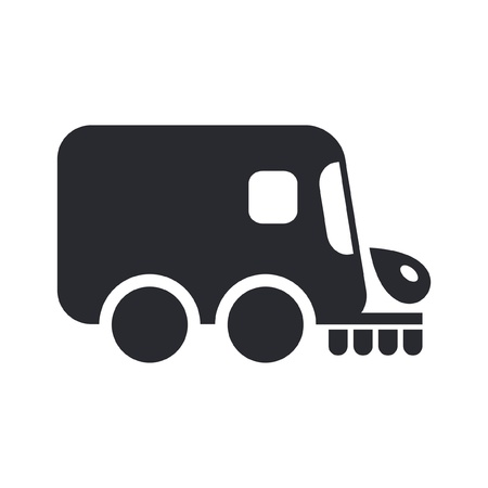 Vector illustration of single isolated icon depicting a road cleaner Vector
