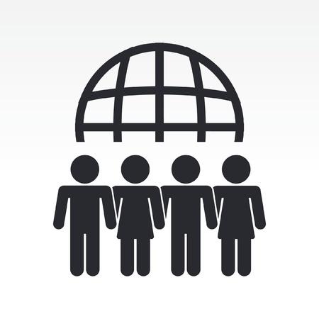 encounter: Illustrazione vettoriale di icona moderna raffigurante un incontro globale persone Vettoriali